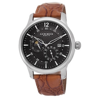 Akribos XXIV Men's Stainless Steel Automatic Multifunction Silver-Tone Strap Watch