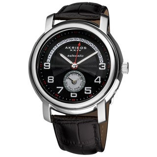 Akribos XXIV Men's Automatic Retrograde Date Leather Black Strap Watch