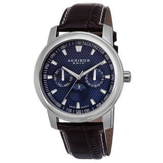 Akribos XXIV Men's Swiss Quartz Moon Phase Multifunction Blue Strap Watch with FREE GIFT