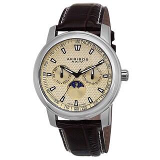 Akribos XXIV Men's Swiss Quartz Moon Phase Multifunction Brown Strap Watch