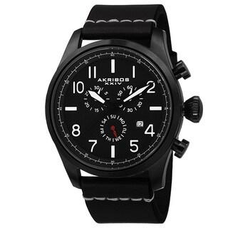 Akribos XXIV Men S Swiss Quartz Chronograph Leather Black Strap Watch
