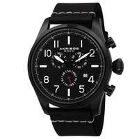 Akribos XXIV Men's Swiss Quartz Chronograph Leather Black Strap Watch