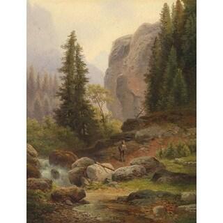 Carl Hasch 'Landscape in Fall' Oil on Canvas Art