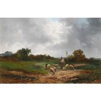 'Landscape with Sheeps' Oil on Canvas Art - Multi