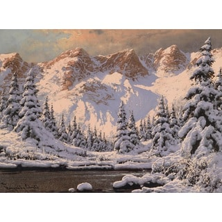 'Snow Lake' Oil on Canvas Art
