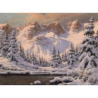 'Snow Lake' Oil on Canvas Art - Multi