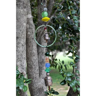 Handmade Glass and Bead Circle Wind Chime (India)