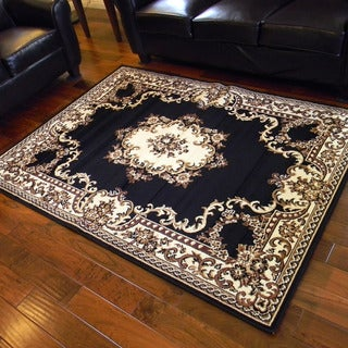 Taj Mahal Black and Camel Oriental Border Area Rug (5' x 7')