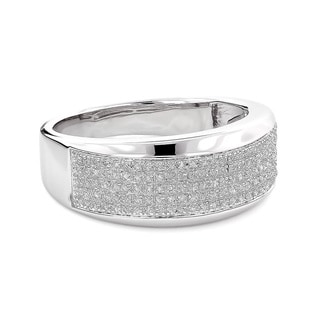 Sterling Silver Men's 1/3ct TDW Diamond Wedding Band