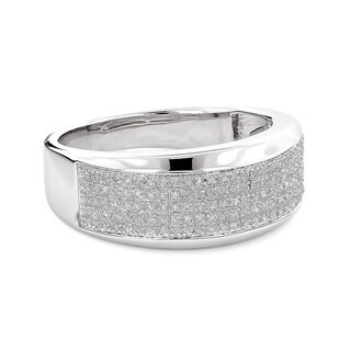 Sterling Silver Men's 1/3ct TDW Diamond Wedding Band (3 options available)
