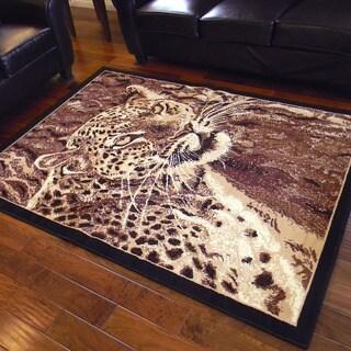 African Adventure Leopard Head Design Area Rug (5' x 7')