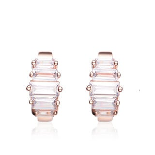 Collette Z Rose Goldplated Sterling Silver Baguette-cut Cubic Zirconia Mini Hoop Earrings