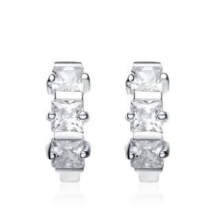 Collette Z Sterling Silver Square-cut Cubic Zirconia Mini Hoop Earrings
