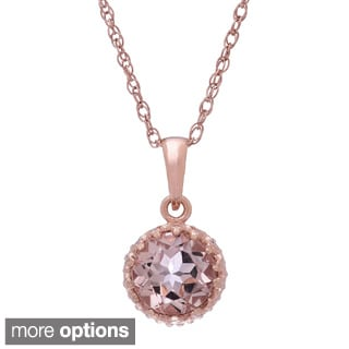 Gioelli Rose Gold-over-Silver 6mm Round-cut Simulated Morganite Tiara Pendant