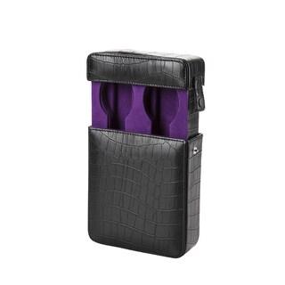 Embossed Black Leather/ Purple Velvet Travel Watch Box