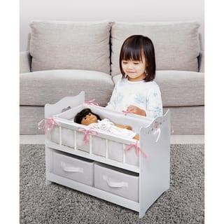 Badger Basket Two-basket White Rose Doll Crib|https://ak1.ostkcdn.com/images/products/8976493/Badger-Basket-Two-basket-White-Rose-Doll-Crib-P16184043.jpg?impolicy=medium