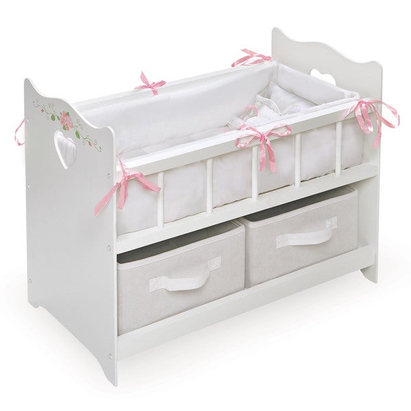 badger basket two basket white doll crib free