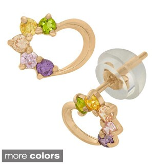 Junior Jewels 14k CZ Heart Stud Earrings