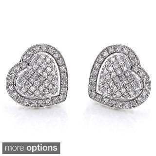 Luxurman 10k Gold 1/2ct White Diamond Heart Stud Earrings (H-I, SI1-SI2)