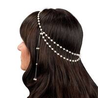 Pearlyta Sterling Silver White Pearl Wedding Head Band (5-6 mm)