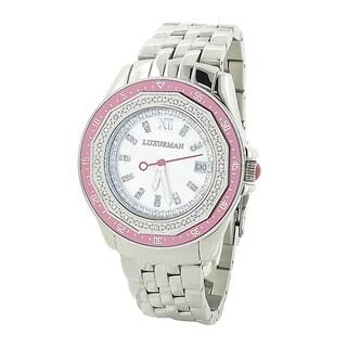 Luxurman Women's 0.25 carat Diamond Pink Watch Metal Band plus Extra Leather Straps