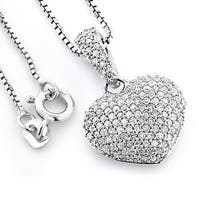 Sterling Silver 1/2ct TDW Pave Diamond Heart Necklace