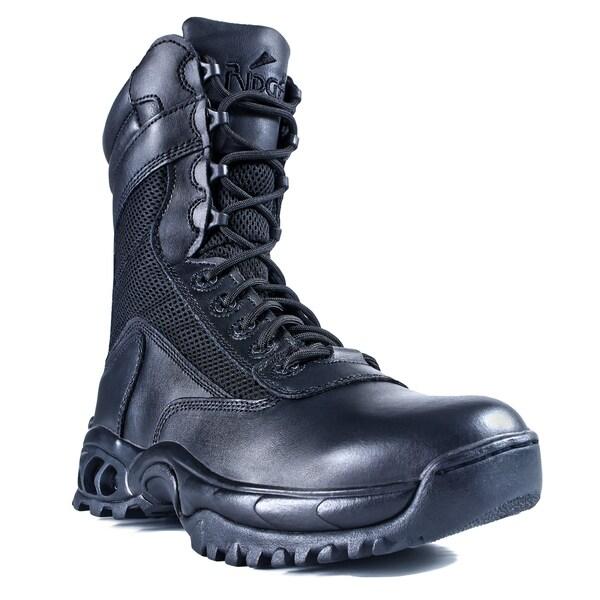Men's Black Leather Zipper Work Boots