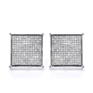 Luxurman 10k Gold 1 1/8ct TDW Diamond Hip-Hop Square Stud Earrings (H-I, SI1-SI2)