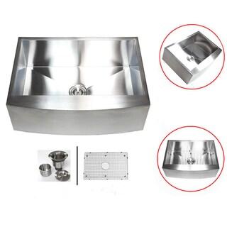 Stainless Steel 33-inch 16-gauge Farmhouse Single Bowl Curve Apron Kitchen Sink
