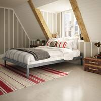 Amisco Attic Glossy Grey 60-inch Queen-size Metal Bed