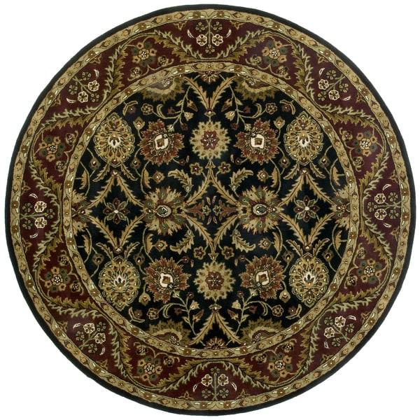 Hand-tufted Morris Black Round Wool Rug (8' x 8') - 8' x 8'