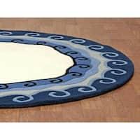 Hand-tufted Malibu Blue Round Wool Rug (8' x 8') - 8'