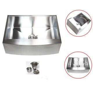Stainless Steel 36-inch 16-gauge Farmhouse Single Bowl Curve Apron Kitchen Sink