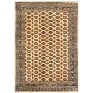 Herat Oriental Pakistani Hand-knotted Bokhara Gold/ Black Wool Rug (8' x 9'10)