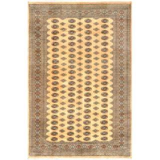 Herat Oriental Pakistani Hand-knotted Bokhara Gold/ Black Wool Rug (7'1 x 10'6)