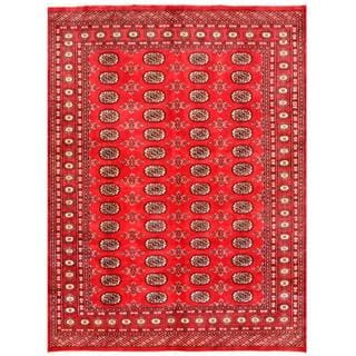 Herat Oriental Pakistani Hand-knotted Bokhara Red/ Ivory Wool Rug (5'6 x 7'3)