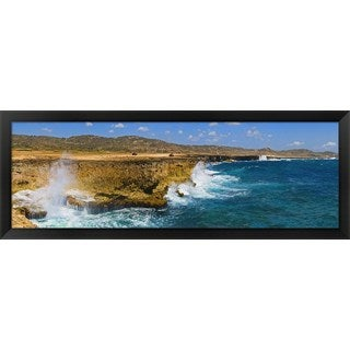 'Waves breaking at the coast, Aruba' Framed Panoramic Photo