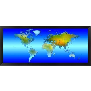 'World map' Framed Panoramic Photo