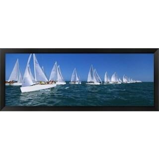 'Sailboat racing in the ocean, Key West, Florida ' Framed Panoramic Photo