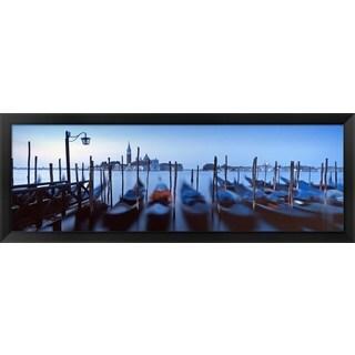'Row of gondolas, Venice, Italy' Framed Panoramic Photo