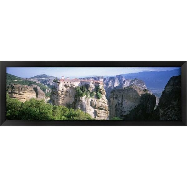 'Roussanou Monastery, Meteora, Greece' Framed Panoramic Photo