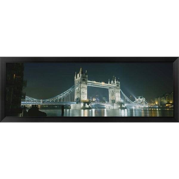 'Tower Bridge, London, England' Framed Panoramic Photo - Black