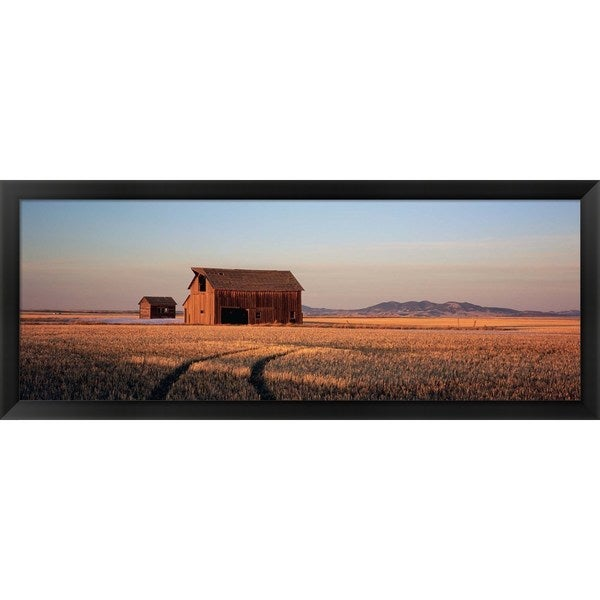'Barn in a field, Hobson, Montana' Framed Panoramic Photo