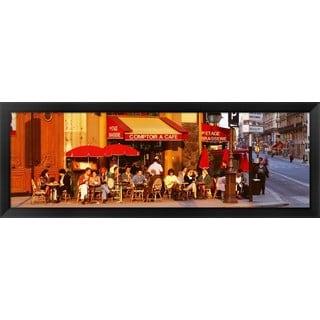 'Cafe, Paris, France' Framed Panoramic Photo