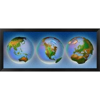 'Close-up of three globes' Framed Panoramic Photo