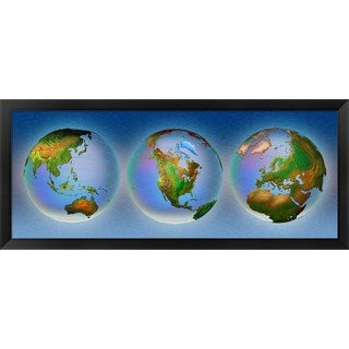 'Close-up of three globes' Framed Panoramic Photo