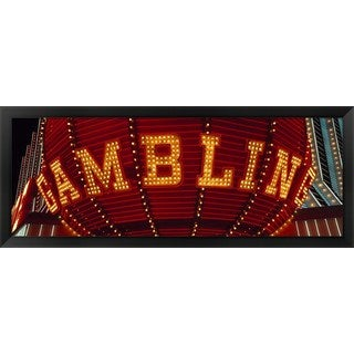'Close-up of a neon sign of gambling, Las Vegas ' Framed Panoramic Photo