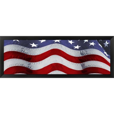 'Close-up of an American flag' Framed Panoramic Photo