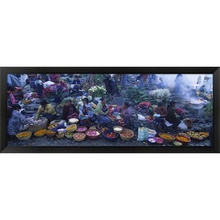 'Vegetable Market, Solola, Guatemala' Framed Panoramic Photo