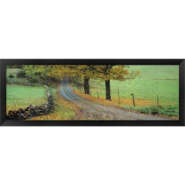 'Old King's Highway, Woodstock, Vermont' Framed Panoramic Photo - Multi